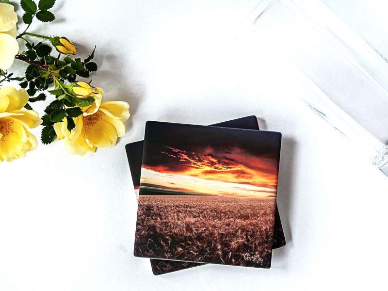 Wheat Field at Sunset Coasters