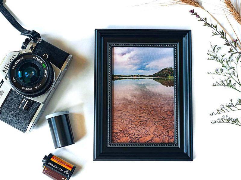Deerfield Lake Framed Mini Canvas Print